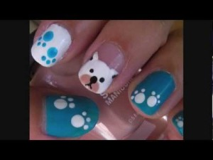 blue puppy nail art - you tube