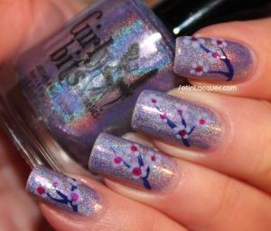 purple glitter flower nail art